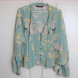 Zara Gorgeous Green Crane Floral Boho Blouse